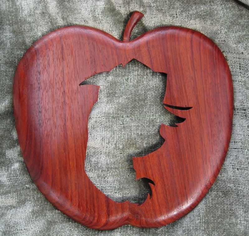 Applejack Silhouette, from Legacy Crests, makers of custom handmade wood school, family, and corporate crests, logos, devices, and signs from exotic hardwoods, any size or design, to your specification.