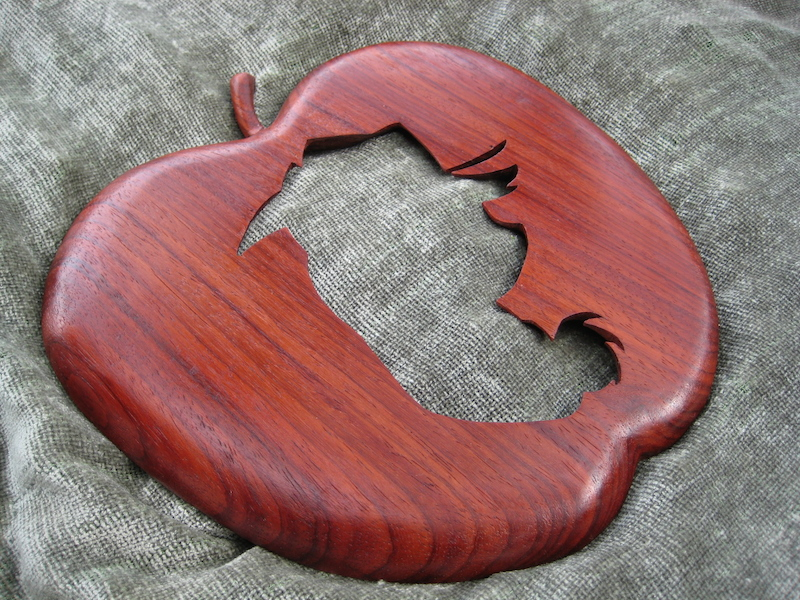 Applejack Silhouette, by Embry McKee of Legacy Crests, makers of custom handmade wood school, family, and corporate crests, logos, devices, and signs from exotic hardwoods, any size or design, to your specification.