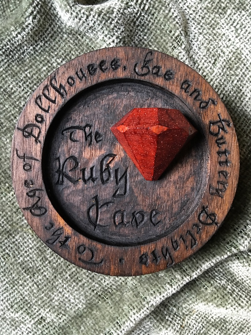 Ruby Cave by Embry McKee of Legacy Crests, makers of custom handmade wood school, family, and corporate crests, logos, devices, and signs from exotic hardwoods, any size or design, to your specification.