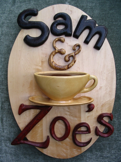 A sign for Sam and Zoe's coffee shop in Nashville, TN by Legacy Crests, maker of crests, shields, logos, signs, etc. in high-relief from exotic hardwoods.