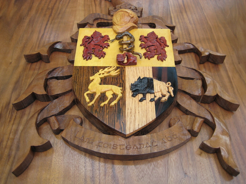 Sullivan Crest, by Embry McKee of Legacy Crests, makers of custom handmade wood school, family, and corporate crests, logos, devices, and signs from exotic hardwoods, any size or design, to your specification.