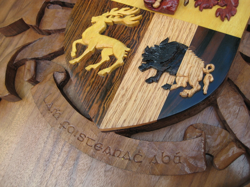 Sullivan Crest, by Embry McKee of Legacy Crests, maker of custom handmade wood school, family, and corporate crests, logos, devices, and signs from exotic hardwoods, any size or design, to your specification.