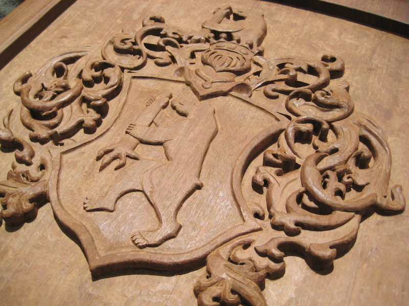 v Eckhardt Coat-of-Arms, by Embry McKee of Legacy Crests, maker of custom handmade wood school, family, and corporate crests, logos, devices, and signs from exotic hardwoods, any size or design, to your specification.