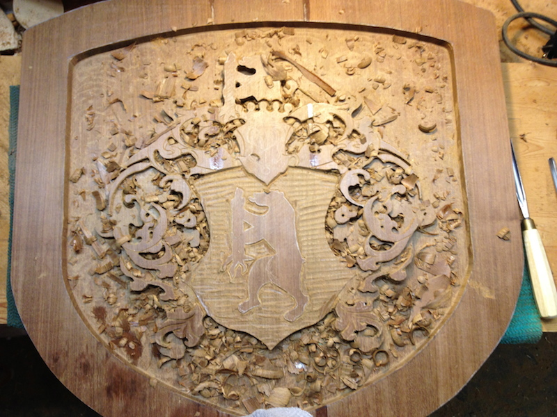 v Eckhardt Coat-of-Arms by Embry McKee of Legacy Crests, maker of custom handmade wood school, family, and corporate crests, logos, devices, and signs from exotic hardwoods, any size or design, to your specification.