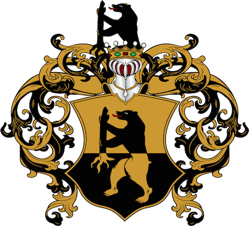 Graphic of the v Eckhardt Coat-of-Arms page of Legacy Crests by Embry McKee, creator of hardwood designs of family crests, corporate logos, college and university logos, sports insignia, heraldry, etc.